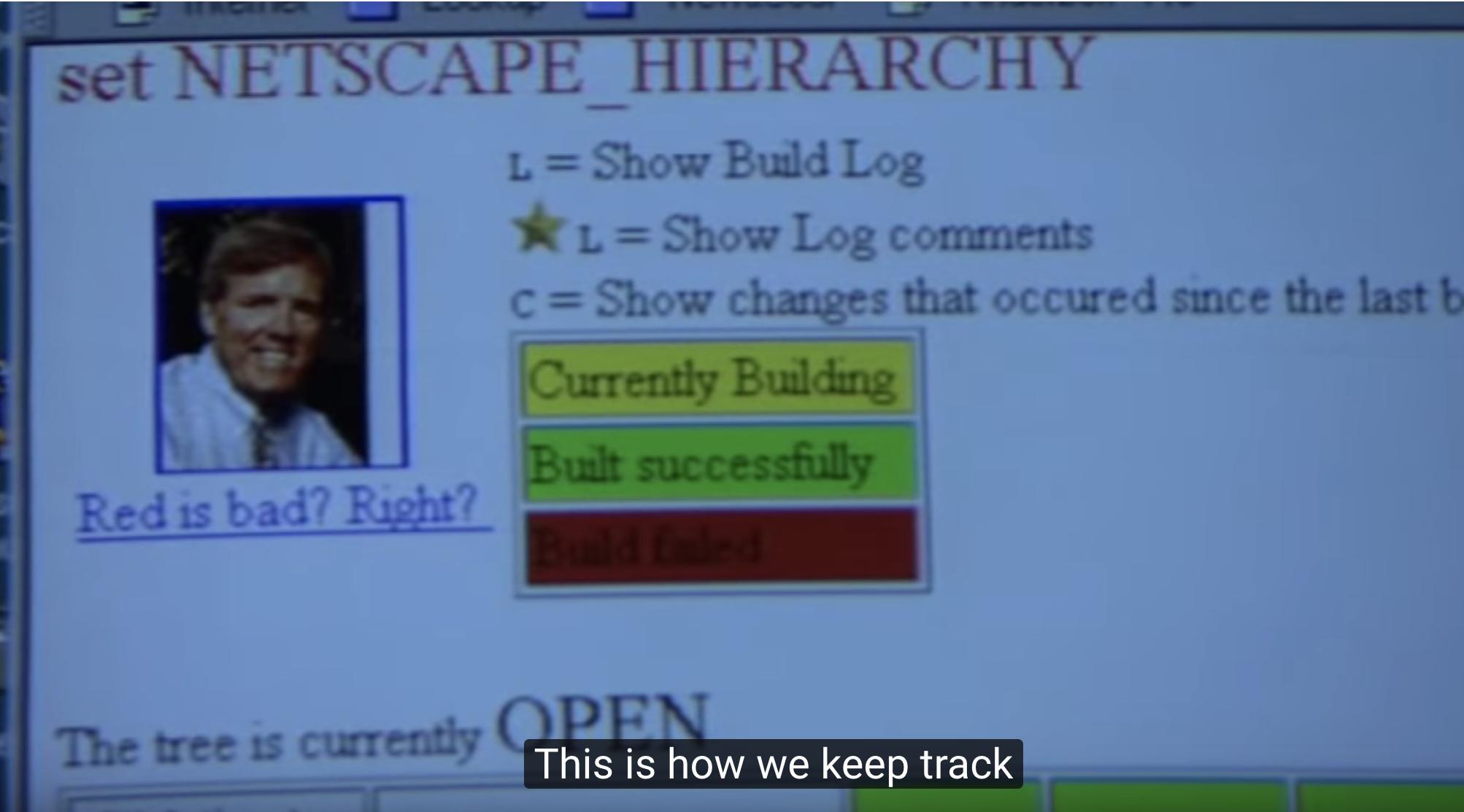 Otro fotograma del documental Project Code Rush, que muestra la pantalla de estado del sistema de integración continua de Mozilla.