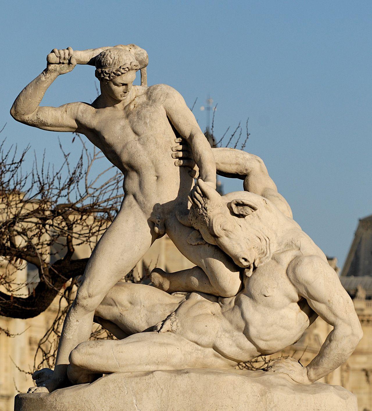 Teseo luchando con el Minotauro, por Jean-Etienne Ramey
